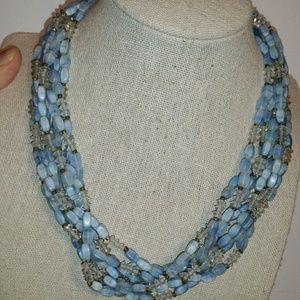 Vintage 'Vendome' Multi-Strand, Blue/Crystal Neckl
